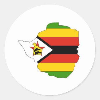 Mapa de la bandera de Zimbabwe Pegatina Redonda