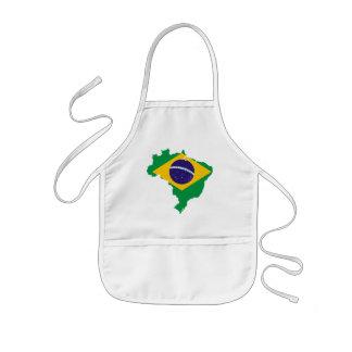 mapa de la bandera del Brasil Delantal Infantil