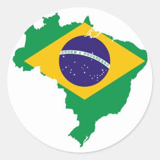 mapa de la bandera del Brasil Pegatina Redonda