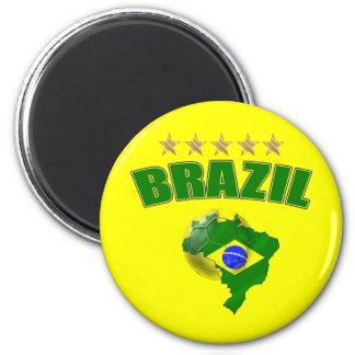 Mapa de la bandera del brasilen@o del Brasil del b Imán Redondo 5 Cm