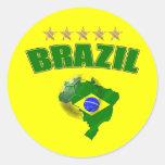 Mapa de la bandera del brasilen@o del Brasil del Pegatina Redonda