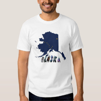 Mapa de la bandera del estado de Alaska y texto de Remeras