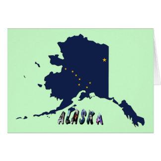 Mapa de la bandera del estado de Alaska y texto de Tarjeta De Felicitación
