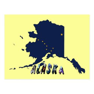 Mapa de la bandera del estado de Alaska y texto de Tarjeta Postal