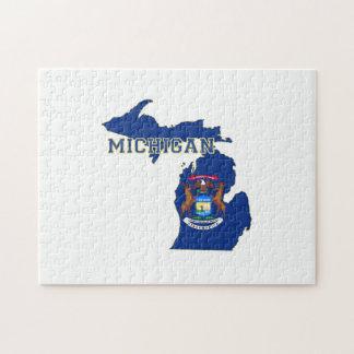 Mapa de la bandera del estado de Michigan Rompecabeza Con Fotos