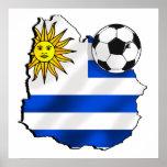 Mapa de la bandera del fútbol de los regalos de Ur Póster