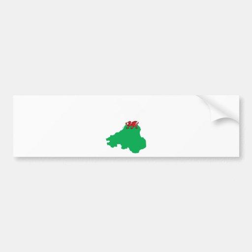 Mapa de la bandera Galés del mismo tamaño Pegatina Para Auto