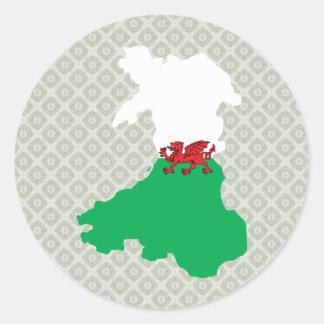 Mapa de la bandera Galés del mismo tamaño Pegatina Redonda