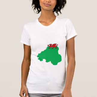 Mapa de la bandera Galés del mismo tamaño Camisetas