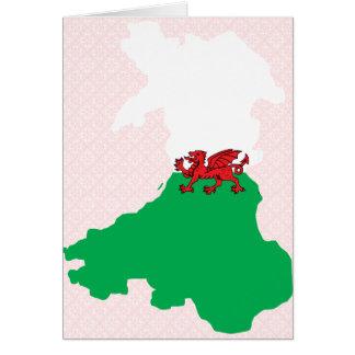 Mapa de la bandera Galés del mismo tamaño Felicitacion