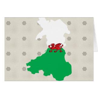 Mapa de la bandera Galés del mismo tamaño Felicitaciones