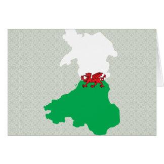 Mapa de la bandera Galés del mismo tamaño Felicitación