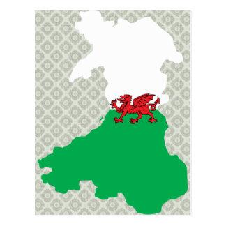 Mapa de la bandera Galés del mismo tamaño Tarjeta Postal