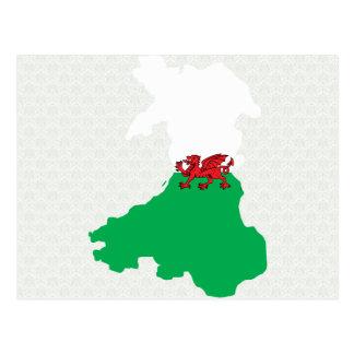 Mapa de la bandera Galés del mismo tamaño Postal
