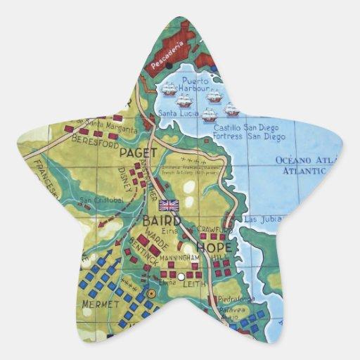 Mapa de la batalla de la Coruña Pegatina En Forma De Estrella