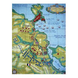 Mapa de la batalla de la Coruña Tarjeta Postal