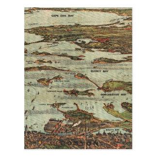 Mapa de la Birdseye-vista del puerto de Boston Tarjetas Postales