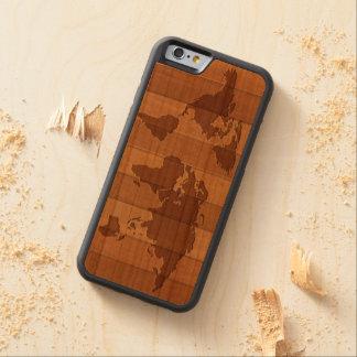 Mapa de la caja de madera tallada mundo del funda de iPhone 6 bumper cerezo