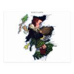 Mapa de la caricatura de Escocia Postal