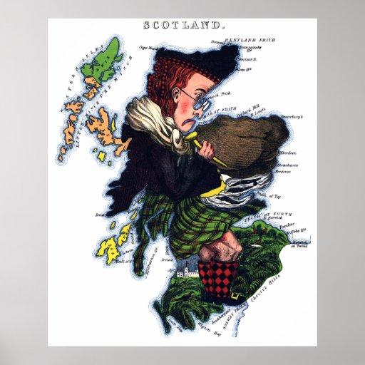 Mapa de la caricatura de Escocia Póster