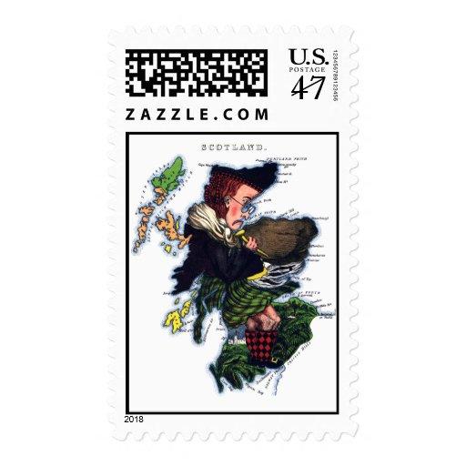 Mapa de la caricatura de Escocia Timbre Postal