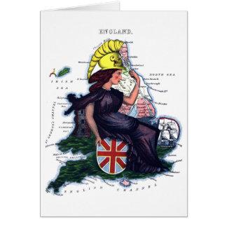 Mapa de la caricatura de Inglaterra Tarjeta De Felicitación