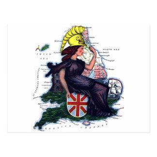 Mapa de la caricatura de Inglaterra Tarjetas Postales