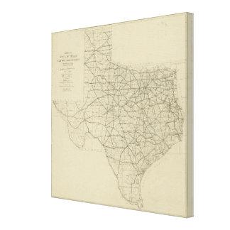Mapa de la carretera de Tejas del vintage (1919) Lona Envuelta Para Galerias