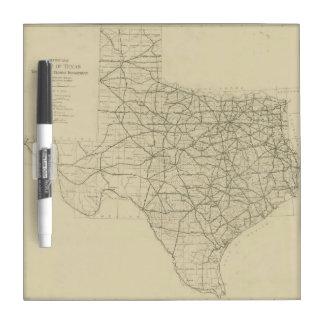 Mapa de la carretera de Tejas del vintage (1919) Pizarras Blancas De Calidad