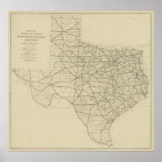 Mapa de la carretera de Tejas del vintage (1919) Póster