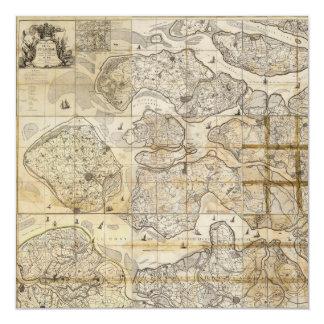 """Mapa de la carta de la pared de Selandia Dinamarca Invitación 5.25"""" X 5.25"""""""