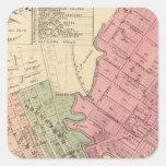 Mapa de la ciudad 1877 de Petaluma Calcomanías Cuadradas Personalizadas