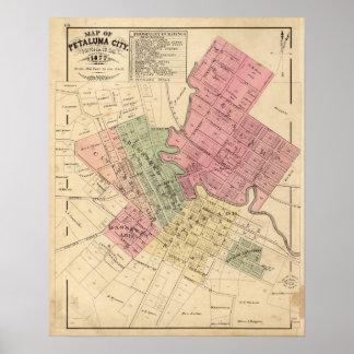 Mapa de la ciudad 1877 de Petaluma Póster