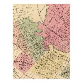 Mapa de la ciudad 1877 de Petaluma Tarjetas Postales