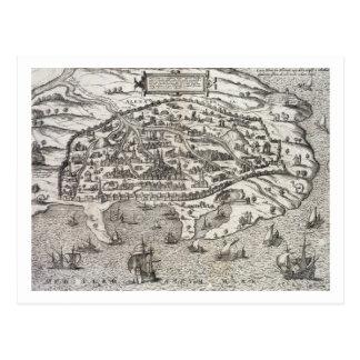 Mapa de la ciudad de Alexandría en Egipto, c.1625 Tarjetas Postales