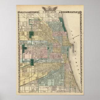 Mapa de la ciudad de Chicago Posters