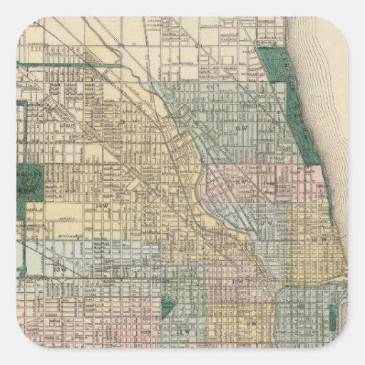 Mapa de la ciudad de Chicago Pegatina Cuadrada