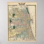 Mapa de la ciudad de Chicago Póster