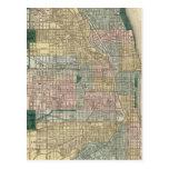 Mapa de la ciudad de Chicago Tarjeta Postal