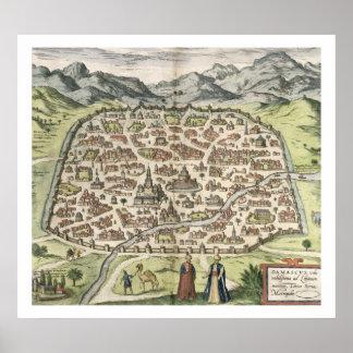 Mapa de la ciudad de Damasco, Siria, 1620 (grabado Poster