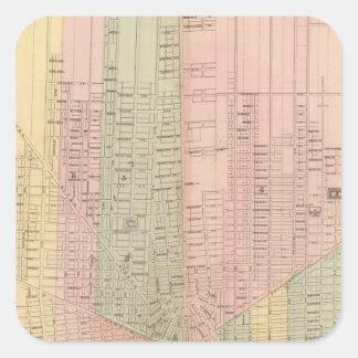 Mapa de la ciudad de Detroit Pegatina Cuadrada
