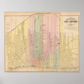 Mapa de la ciudad de Detroit Póster