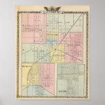 Mapa de la ciudad de Galesburg, y Monmouth y Aledo Posters