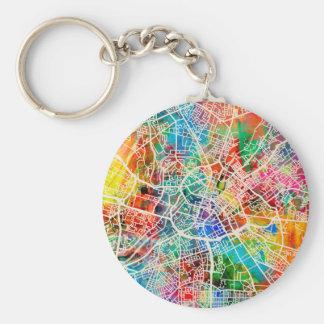 Mapa de la ciudad de la calle de Manchester Llavero Redondo Tipo Pin