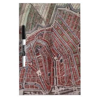 Mapa de la ciudad de la reproducción de Amsterdam Pizarra Blanca