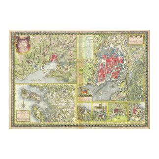 Mapa de la ciudad de La Rochelle y de Aunis Impresión En Lienzo