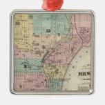 Mapa de la ciudad de Milwaukee, Milwaukee Co Adorno Navideño Cuadrado De Metal
