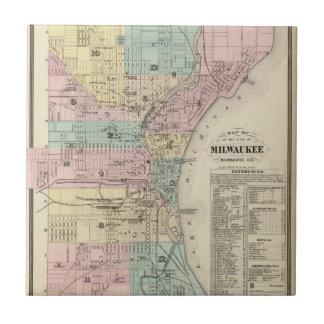 Mapa de la ciudad de Milwaukee, Milwaukee Co Azulejo Cuadrado Pequeño