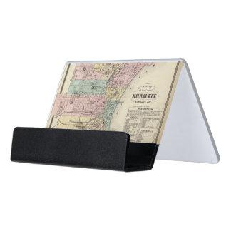 Mapa de la ciudad de Milwaukee, Milwaukee Co Caja De Tarjetas De Visita Para Escritorio