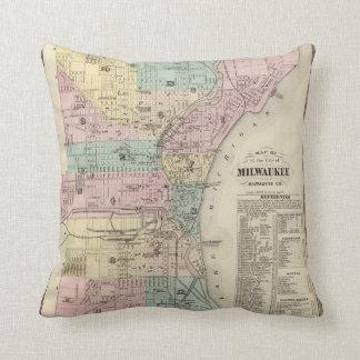 Mapa de la ciudad de Milwaukee, Milwaukee Co Cojín Decorativo